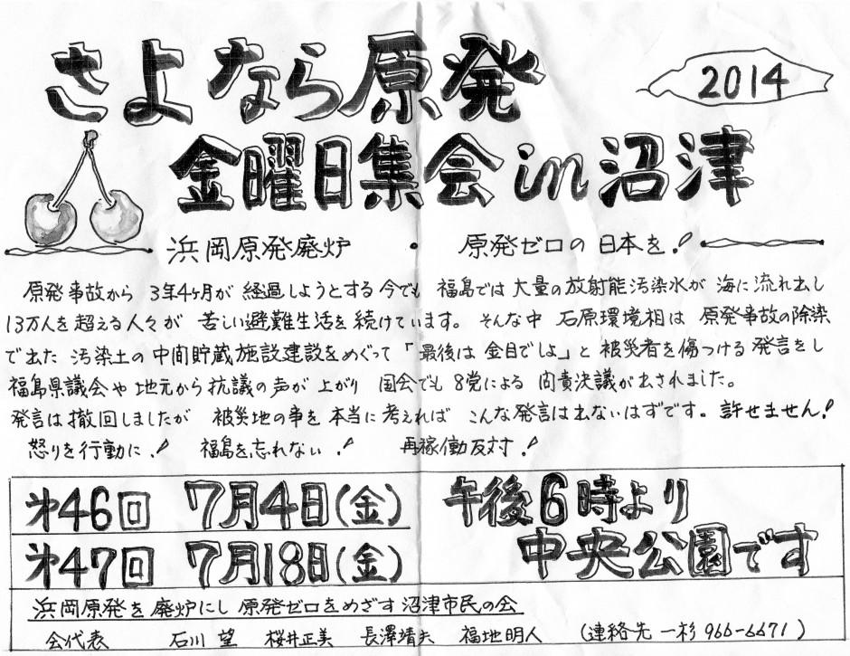 さよなら原発沼津2014年7月スケジュール